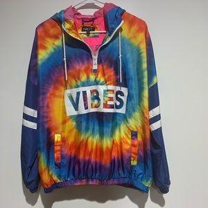 Tie-dye windbreaker hoodie